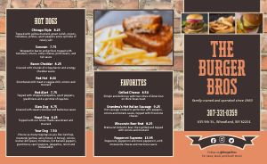 Brickwall Burger Takeout Menu