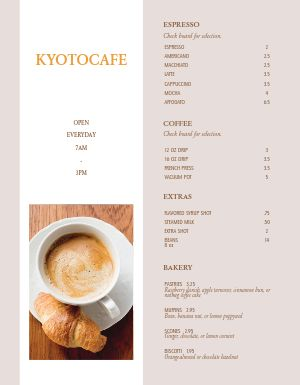Americano Coffee Menu