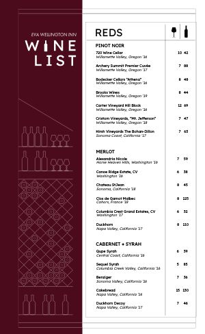 Dine In Wine List Menu