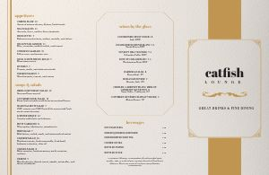 Golden Filigree Fine Dining Folded Menu