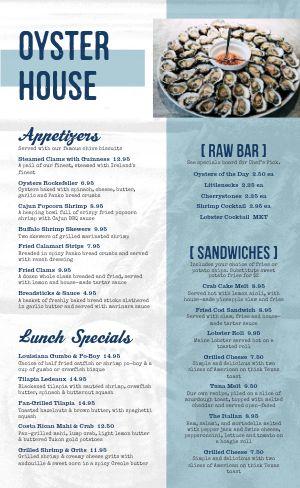 Seafood Dining Menu