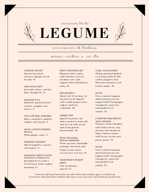 Elegant French Cafe Menu