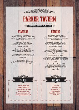Tavern Bar A4 Menu