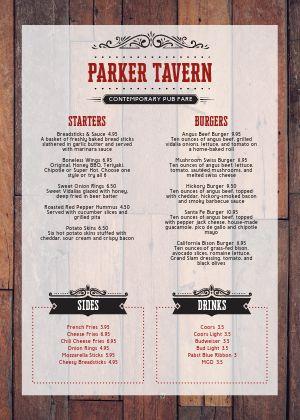 Tavern Bar A4 Menu