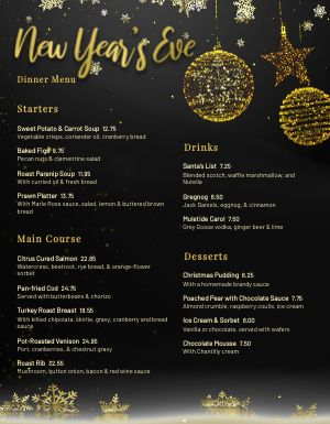 New Years Ornament Menu