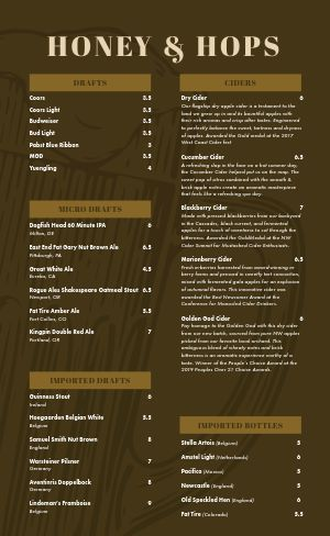 Hops Beer Menu