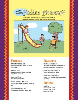 Entertaining Kids Menu