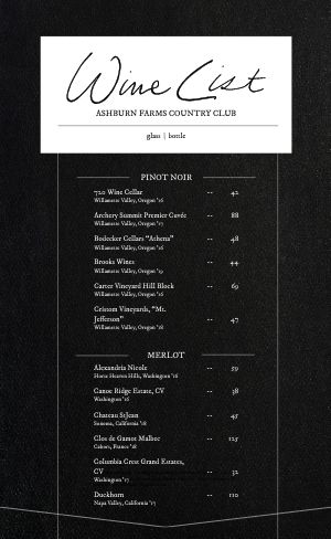 Wine List Menu Example