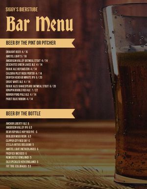 Pint Glass Bar Menu