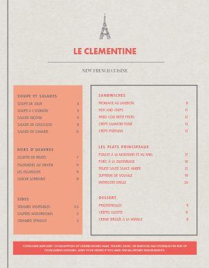 Contemporary French Menu