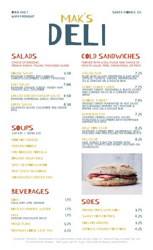 Colorful Sandwich Deli Menu