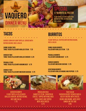 Common Mexican Menu