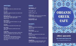 Organic Greek Cafe Takeout Menu