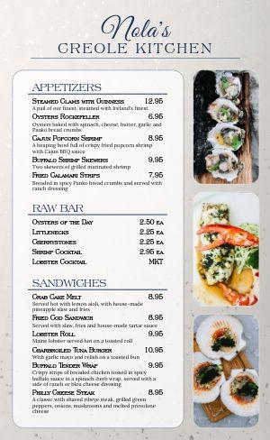 Creole Seafood Menu