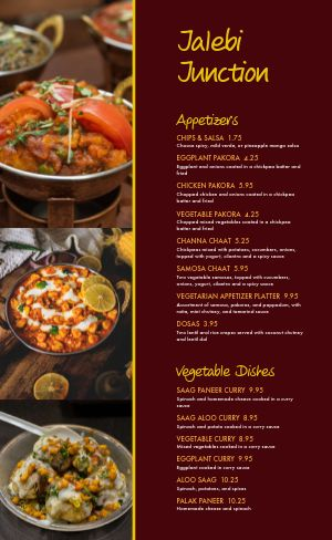 Gourmet Indian Cuisine Menu