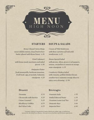 Elegant Cafe Menu