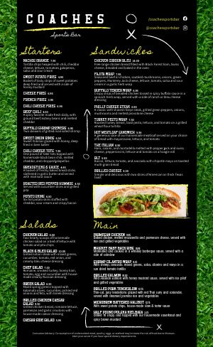Sports Bar Field Menu