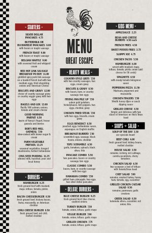 Modern Diner Tabloid Menu