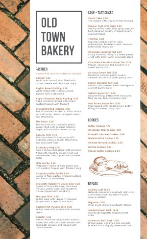 Brick Bakery Menu