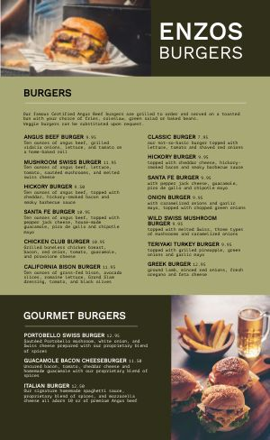 Green Burger Menu