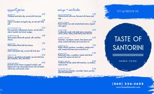 Abstract Greek Takeout Menu