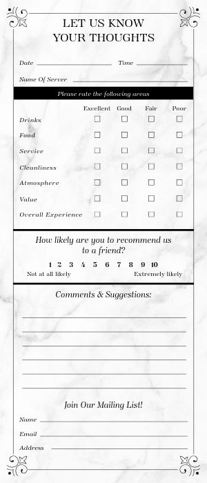 Bistro Comment Card