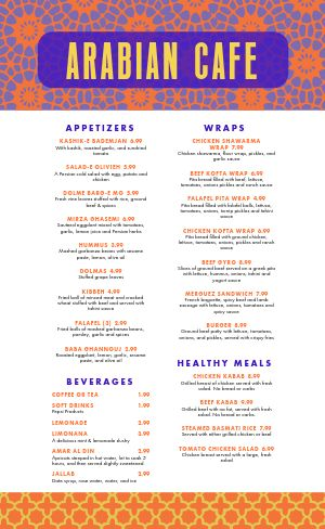 Contemporary Middle Eastern Menu