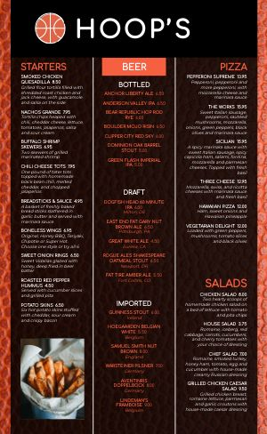 Basketball Sports Bar Menu