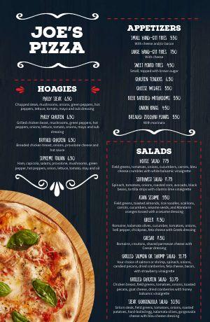 Rustic Pizza Tabloid Menu