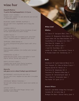 Hotel Wine Bar Menu