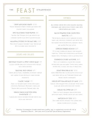 Fancy Steakhouse Menu