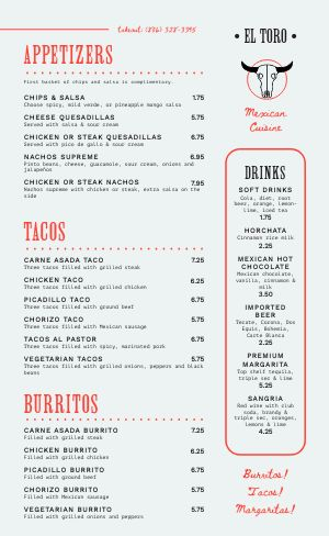 Mexican Dine In Menu