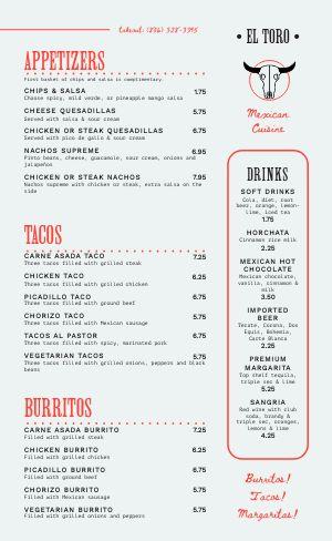 Mexican Dine In Menu