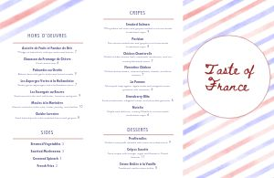 French Stripes Folded Menu