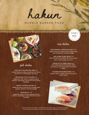 Wooden Thai Menu
