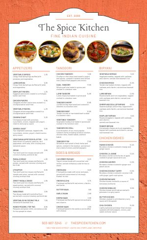 Spicy Indian Menu