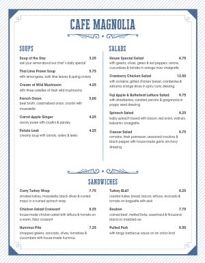 Blue Stripe Cafe Menu