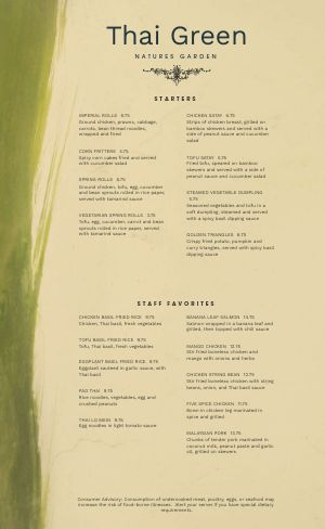 Abstract Thai Menu
