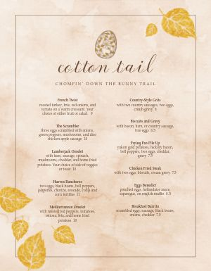 Easter Breakfast Menu