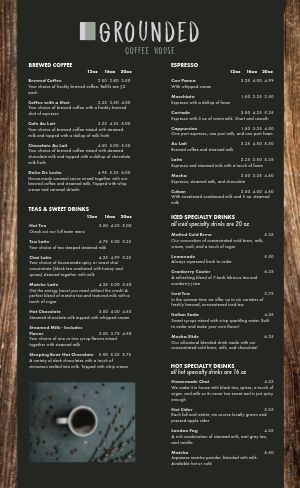 Forest Coffee Menu
