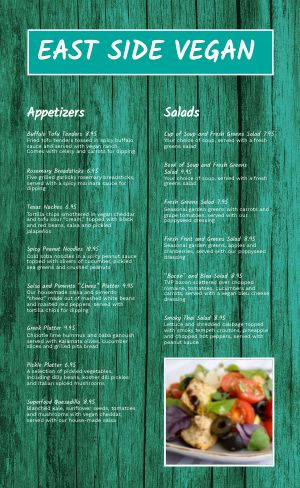 Contemporary Vegan Menu