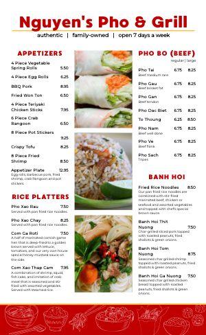 Vietnamese Grill Menu