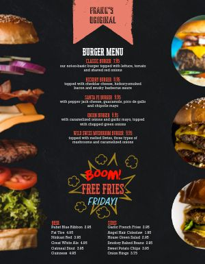 Cow Burger Menu