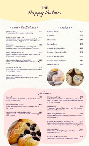 Bakery Dining Menu