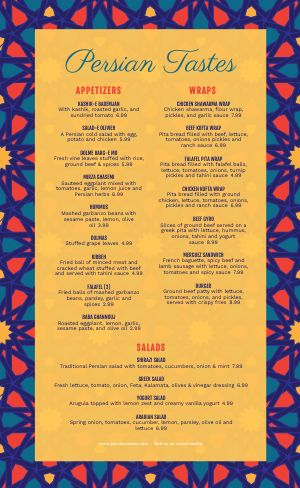 Abstract Middle Eastern Menu