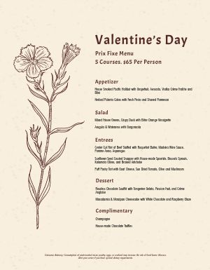 Valentines Flower Menu