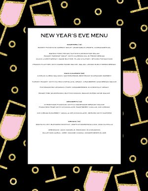 New Years Bubbly Menu
