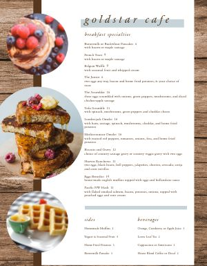 Cafe Breakfast Specialities Menu