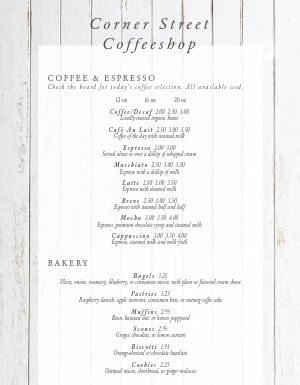 Suburban Coffee Menu