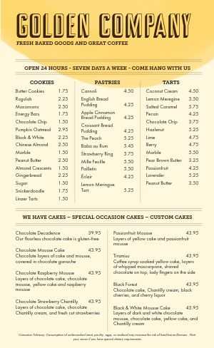 Golden Bakery Menu